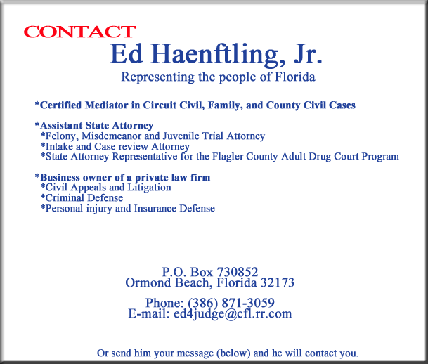 Vote Ed Haenftling, Jr. for Circuit Judge